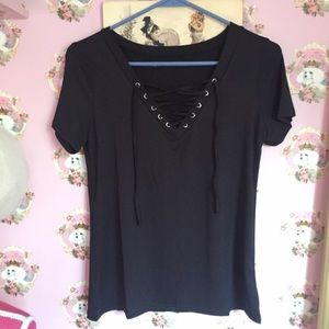 097d6ae41093 Royal Poodle Clothing Tops - Sexy Black Lace Up