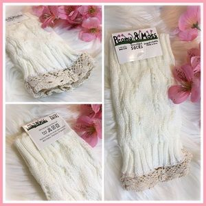 Peony and Moss Accessories - 🆕Textured Lace Boot Cuffs in •White•