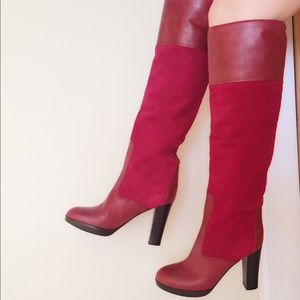 Chloe Shoes - Chloe kneehigh burgundy suede & leather boots SALE