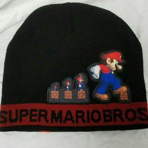 Nintendo Other - SUPER MARIO BROS Black OSFA Black Beanie Cap Hat