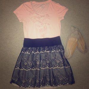 Dresses & Skirts - Pink nude and black high waisted skirt