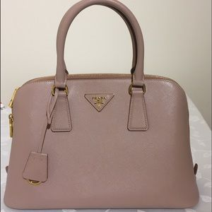 Leather Prada handbag tote pink