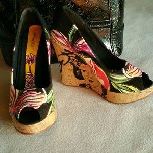 Ed Hardy Shoes - ED HARDY Casablanca Floral Peep Toe Wedge 5