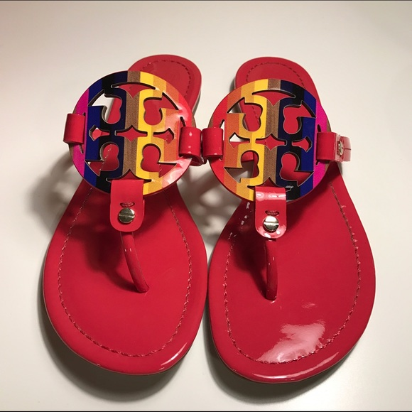31752893a NEW Tory Burch Miller Rainbow Logo Flat Sandals