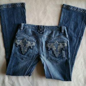 Antik Batik Denim - ANTIK Denim Embroidered Patchwork Bootcut Jeans