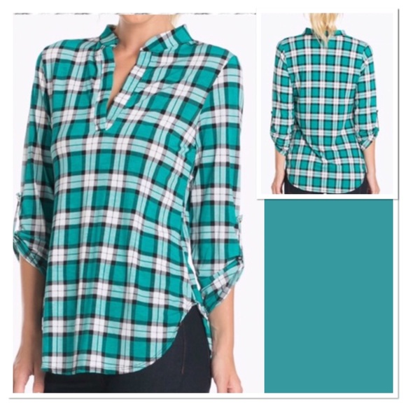 Boutique Tops - 💚 Jade Plaid Tunic