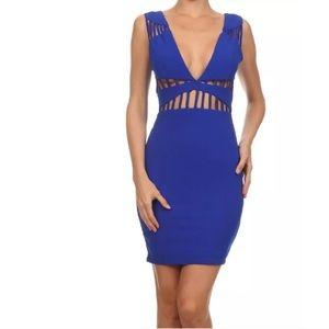 Large Royal Blue Bodycon Cutout Mini Dress