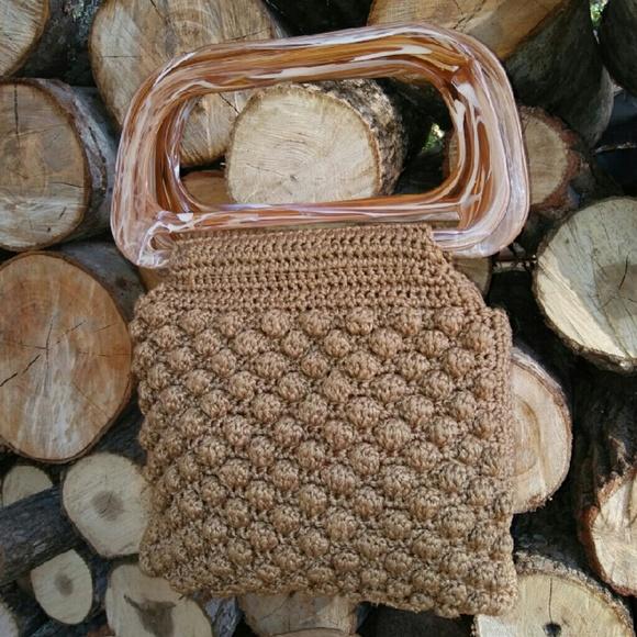 Vintage Bags - SOLD BAKELITE Macrame Handbag