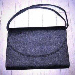 Les Copains Handbags - Les Copains black satin clutch with shoulder strap