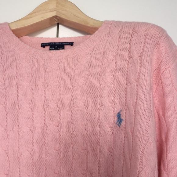 72% off Ralph Lauren Sweaters - Ralph Lauren Light Pink Cable Knit ...
