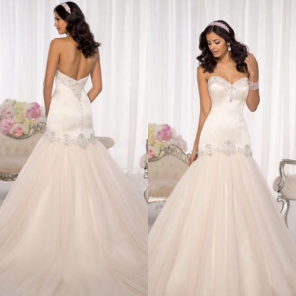 Fit And Flare Wedding Dress.Wedding Gown Blush Fit Flare