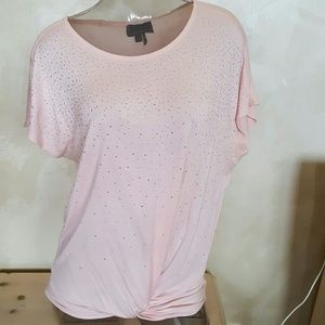 Pale pink silver embellished top w/ gathered botto