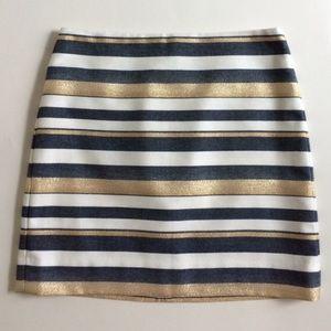 J. Crew Factory Gold Navy Blue Striped Mini Skirt