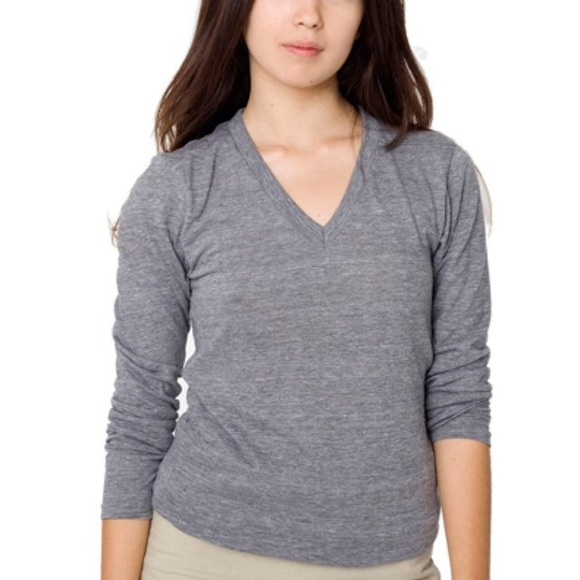 63ebba6fbe8f American Apparel Tops | Unisex Triblend V Neck Long Sleeve Tshirt ...