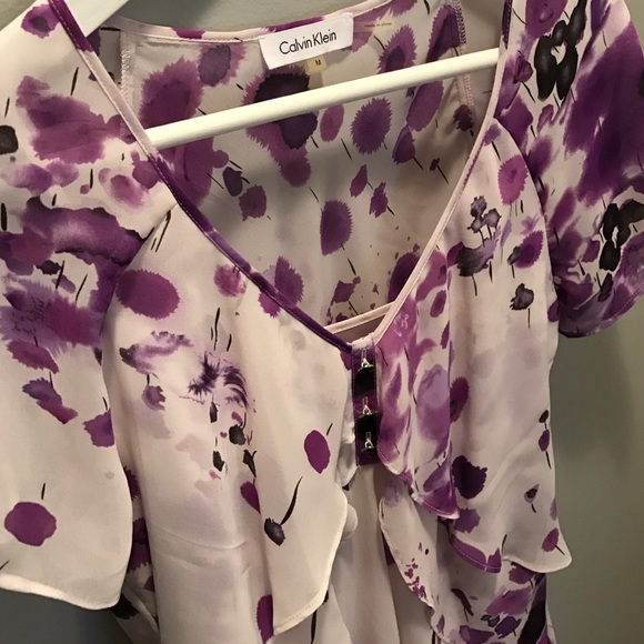 Calvin Klein Tops - Calvin Klein purple and white short sleeve blouse