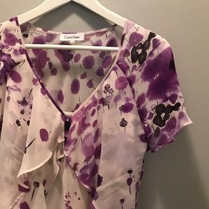 Calvin Klein purple and white short sleeve blouse