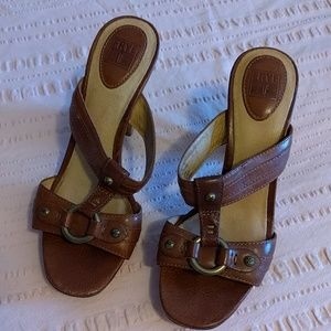 Frye Leather and Teak Sandals