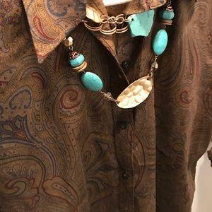 Ralph Lauren Tops - Ralph Lauren brown blue red button down shirt M