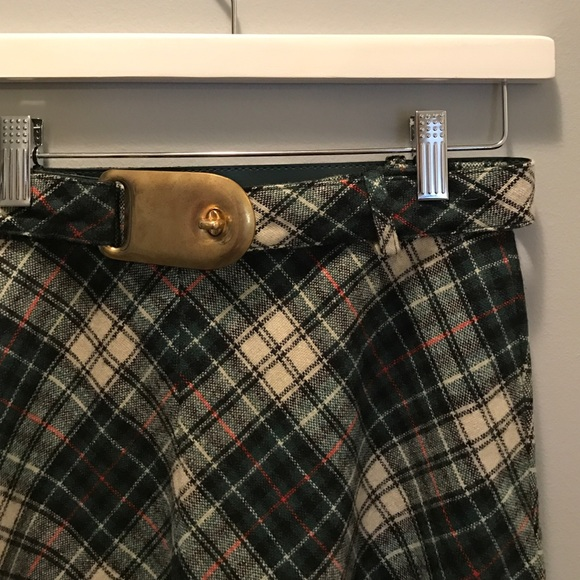 JH Dresses & Skirts - JH Wool Plaid Vintage Midi Skirt green blue S