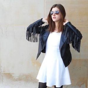 Jackets & Blazers - Fringe Faux Leather Jacket