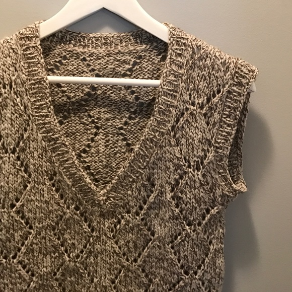 Handmade Sweaters - Handmade Knit Taupe Brown and Ivory Sweater Vest S