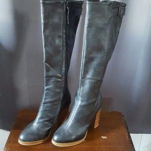 Gorgeous black pleather boots, size 6.5