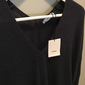 Vince Sweaters - Vince NWT Navy Blue V Neck Wool Sweater MSRP $245
