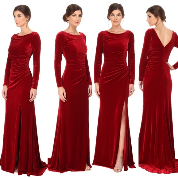 Badgley Mischka Dresses | Red Velvet Evening Gown | Poshmark