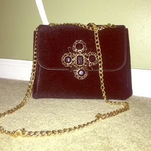 Black Velvet Crossbody Bag