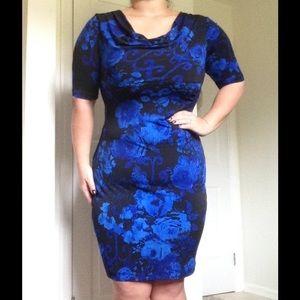 Connected Apparel Dresses & Skirts - NWOT Slight Cowl Length Blue Floral Dress