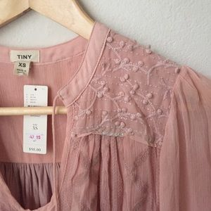 Anthropologie dusty pink embroidered top