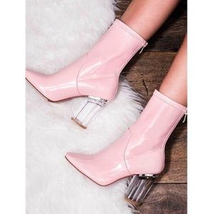 cbefd2023ab Ego Official Shoes - Nude pink Perspex clear heel booties!