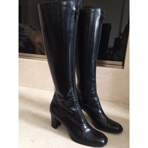 Enzo Angiolini Shoes - Tall ENZO black leather scalloped detail boots