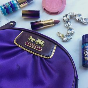 Coach Handbags - Coach Amanda Purple Satin Makeup Bag