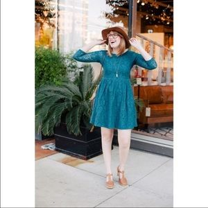 Mata Traders Dresses & Skirts - Mata Traders Teal Lace Skater Dress