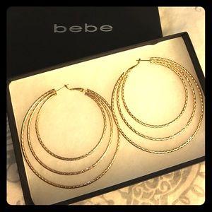 bebe Jewelry - Bebe triple gold hoop earrings