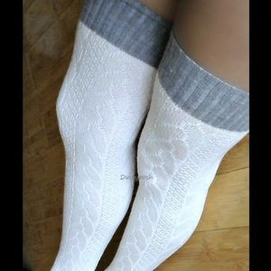 UGG Accessories - Long Knit Over The Knee Sock Thigh High White Grey