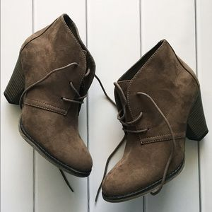 MIA Shoes - Brown Suede Lace Up Ankle Booties