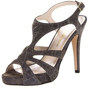 Caparros Shoes - Caparros silver glitter t-strap party heels shoes