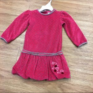 Petit Lem Other - Petit Lem Pink Tan Velour Polka Dot Dress 18 mo