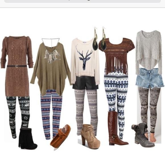 40% off XJ boost Pants - Fair isle Deer winter leggings one size ...