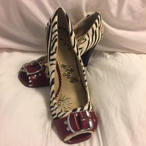 naughty monkey Shoes - Naughty Monkey High Heels pony Hair Zebra Print