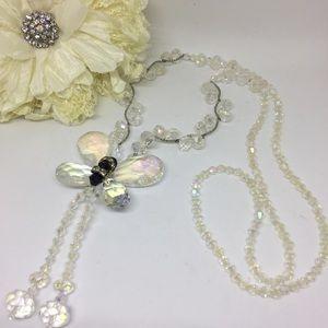 NuBella Jewelry - CRYSTAL Bead Fairy Garden Butterfly Necklace JW-87