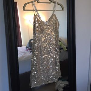UO Silence + Noise Gold Sequin Dress