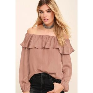 Dusty Rose Off Shoulder Ruffle Satin Top