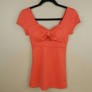 🌺 Charlotte Russe Coral Top with Keyhole