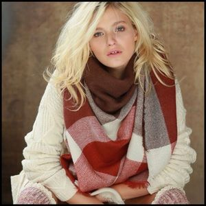 Accessories - Marsala Color Block Scarf - PRICE FIRM