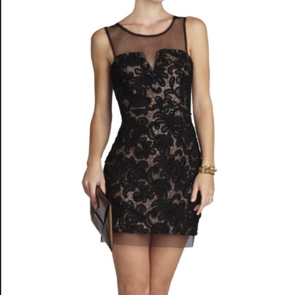 Bcbg abigail embroidered cocktail dress black