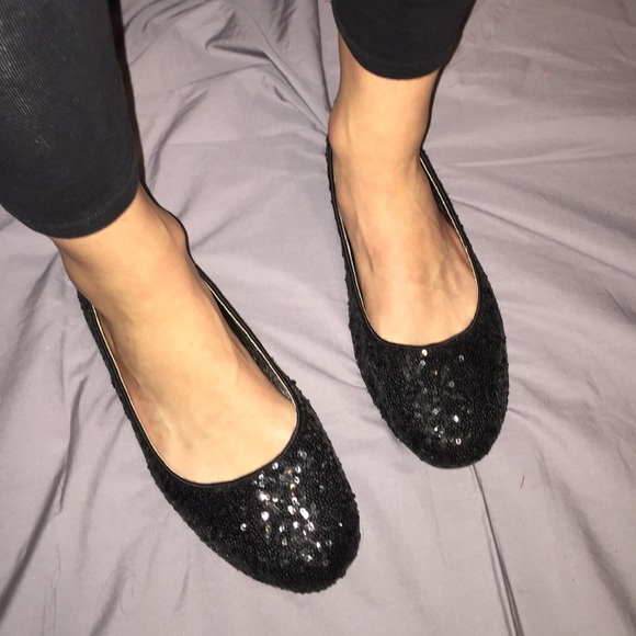 svart sparkly flats online shop d4f27 1c066