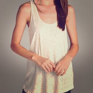 Distressed off white tank!